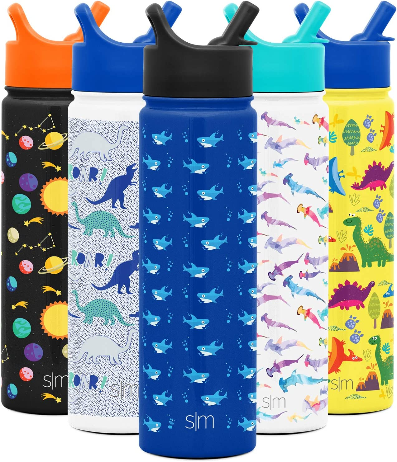 Simple Modern 22oz Summit Kids Water Bottle Thermos with Straw Lid - Dishwasher Safe Vacuum Insulated Double Wall Tumbler Travel Cup 18/8 Stainless Steel -Shark Bite