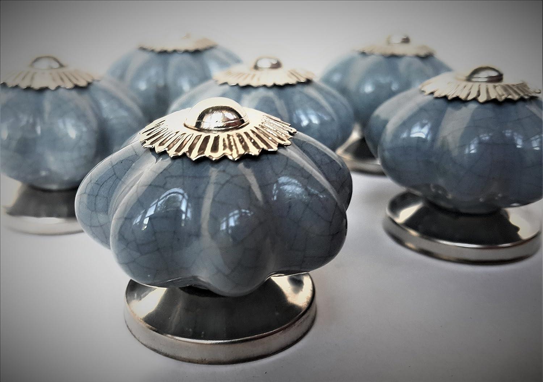 Couleur : gris craquel/é mobilier coffre tiroir Porcelaine en forme de citrouille armoire Lot de 6 poign/ées French Furniture Fittings en c/éramique pour placard de cuisine