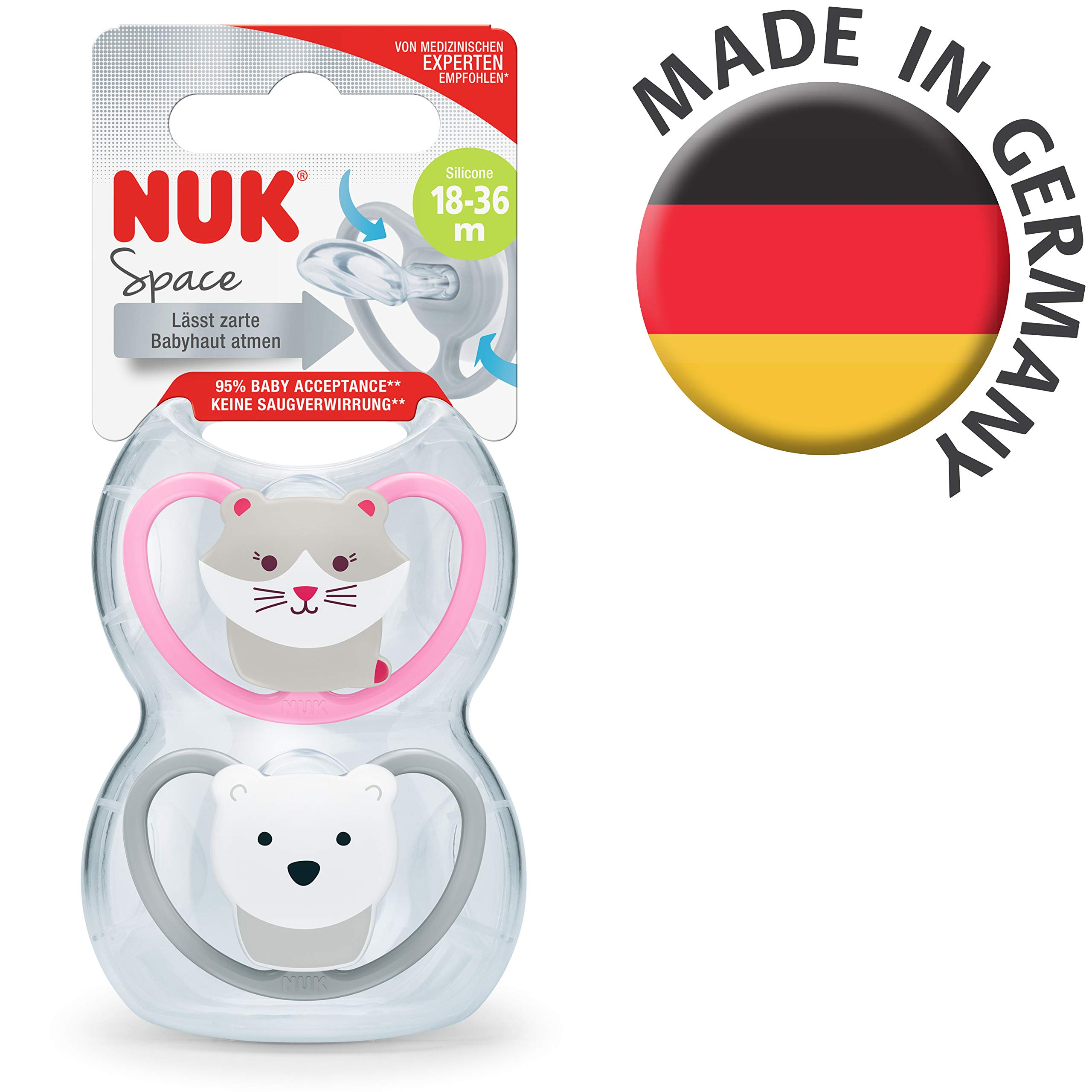 NUK Space Silicone Orthodontic Dummy 18-36 Months Cat /& Polar Bear