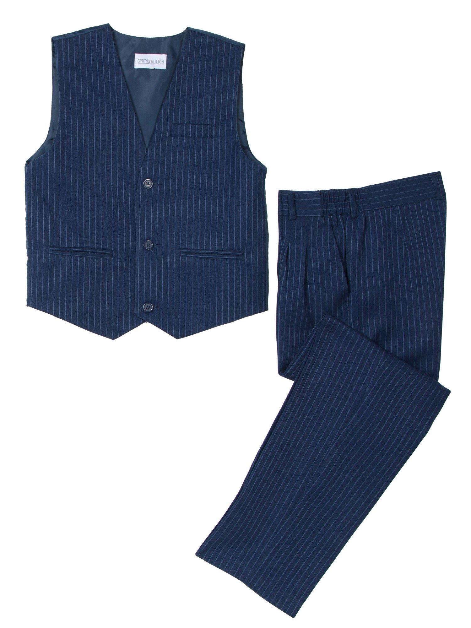 Spring Notion Little Boys' 2 Piece Pinstripe Vest Set 6 Blue