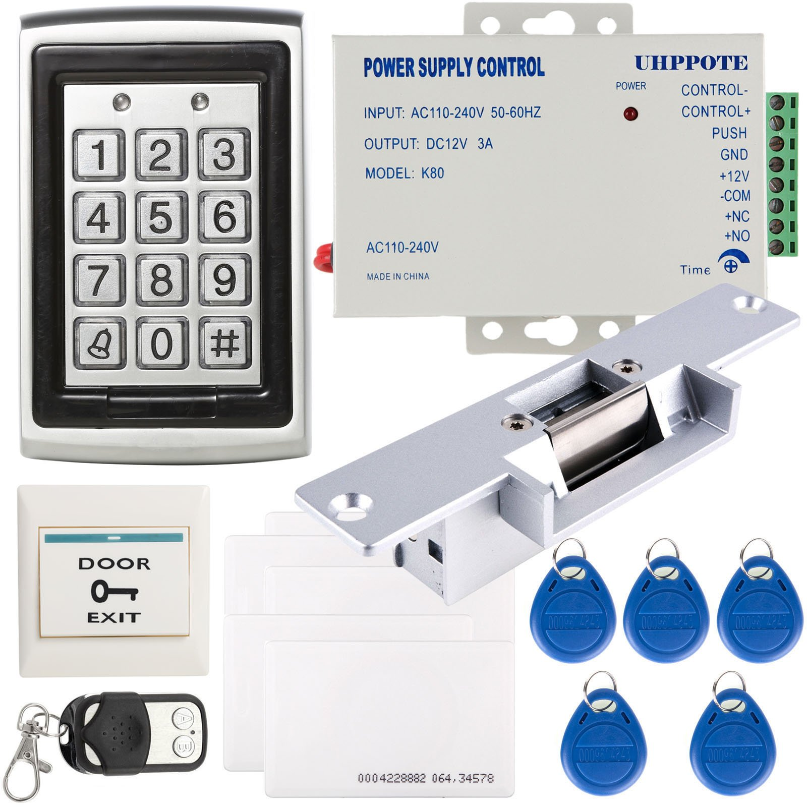 UHPPOTE Full Complete Metal Shell Case 125Khz ID One-door Access Control Machine Unit With Electric Strike Lock 3A Power Supply Remote