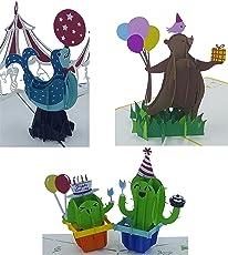 3D Geburtstagskarten - 3 Stück (Motive: Bär & Kaktus & Robbe) - Pop-Up-Karten - handgefertigt - inclusive Umschlag und Schutzhülle - Gruß-Karte, Glückwunsch-Karte, Geschenk-Karte