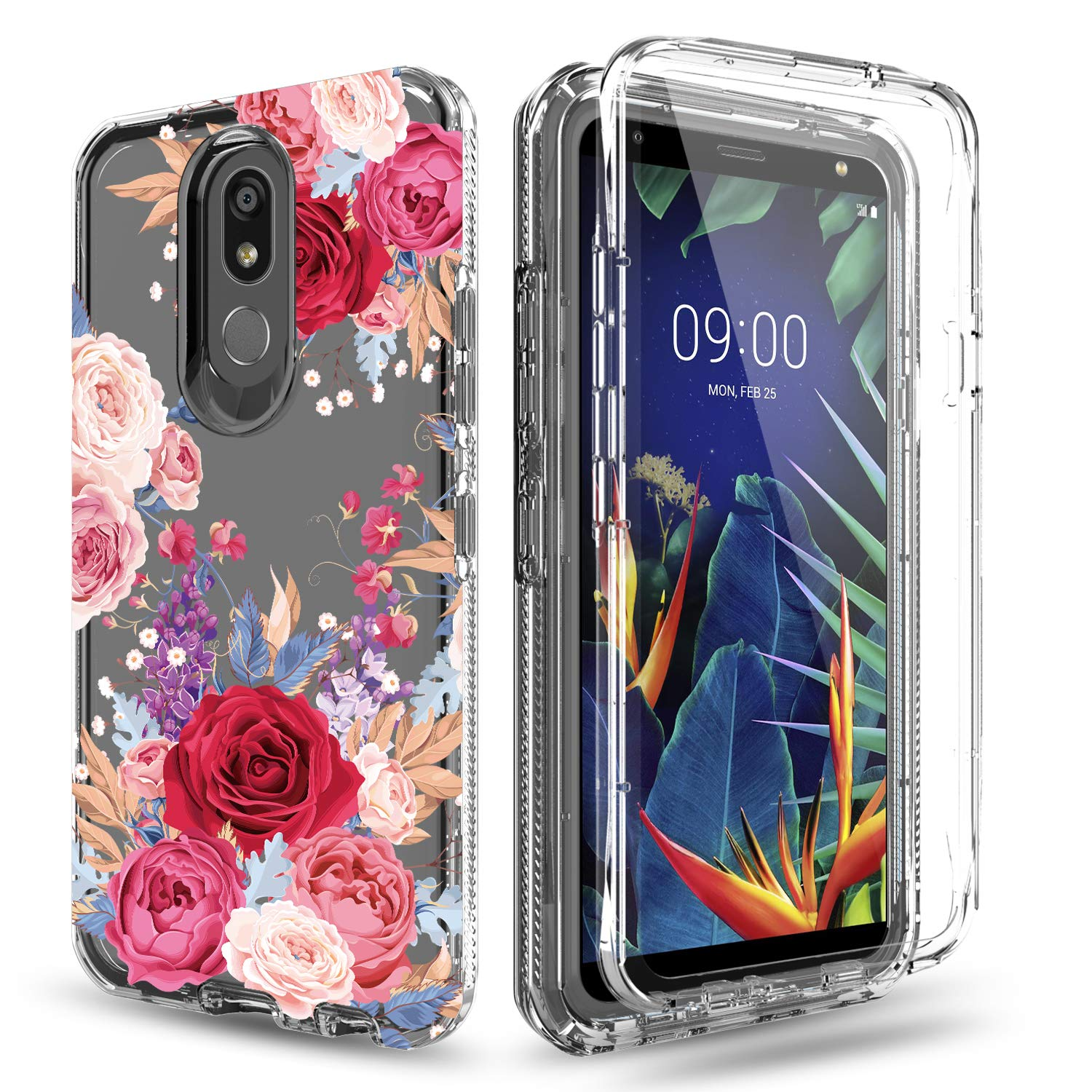 Venoro LG K40 Case, LG Solo LTE, LG Harmony 3, LG Xpression Plus 2 Case, Rugged Full Body Protective Case Anti-Scratch Shockproof Cover Ultra Fit for LG K12 Plus/LMX420/LG X4 2019 (Flower)