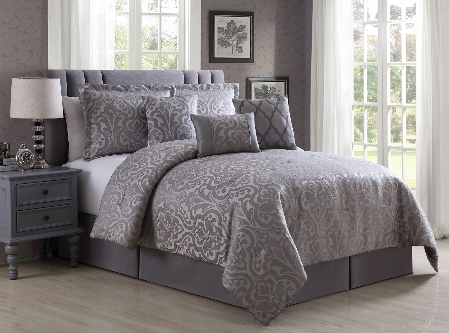 Madison by Chezmoi Collection Luxury 7-piece Jacquard Silver Grey Floral Damask Bedding Comforter Set