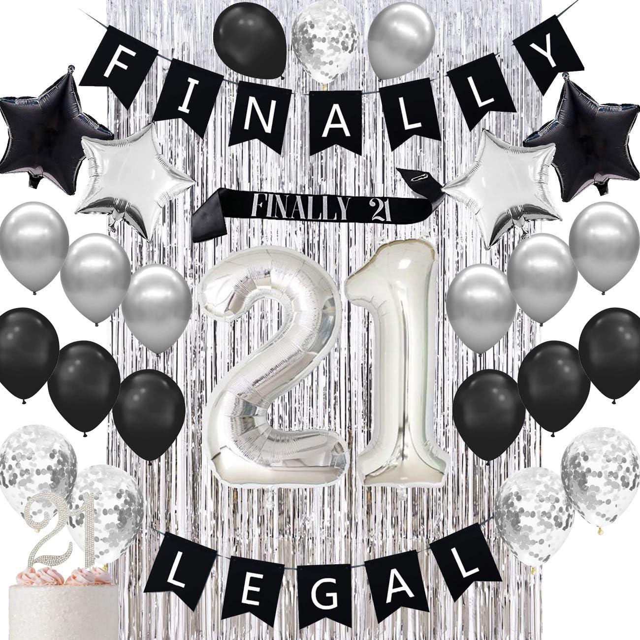 Amazon Com Haimimall 21st Birthday Decorations 21st Birthday Balloons Finally 21 Birthday Banner 21st Birthday Sash Health Personal Care
