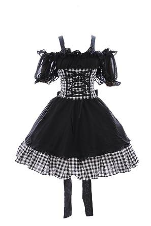 Kawaii-Story M de 3308 Cuadros Blanco y Negro Stretch Gasa Gótico Punk Lolita Vestido