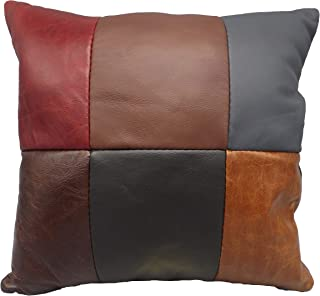 """product image for Saving Shepherd Amish Color Leather 6 Patch Quilt Pillow - 15"""" Exquisite Look & Feel and Handmade in USA"""