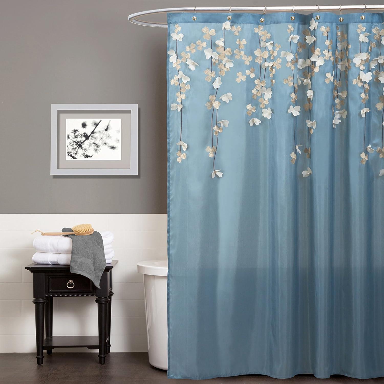 Amazon.com: Lush Decor Flower Drops Shower Curtain, 72 by 72-Inch ...