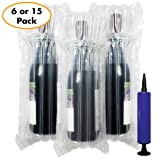 Wine Bottle Protector Bags 15 Pack - Inflatable Air Column Cushioning Sleeves Packaging Ensures Safe Transportation of Glass Bottles during Travel or Shipping with Free Pump