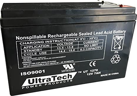 Amazon.com: ULTRATECH UT1270 Batería 12 V 7 Ah Sealed Lead ...