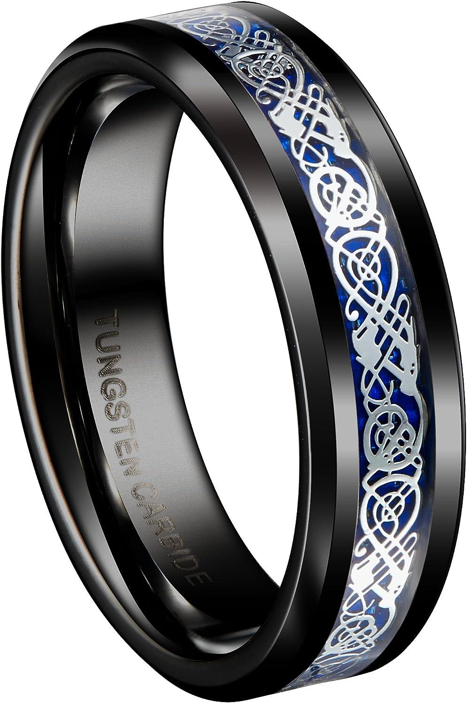 Queenwish 6mm Black Tungsten Carbide Ring Silvering Celtic Dragon Men's Women's Wedding Band Size 5-13