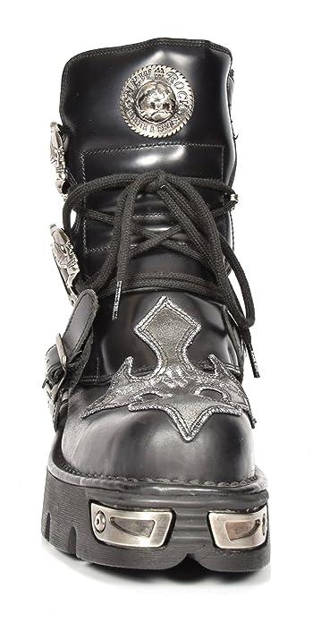 2962109cb New Rock Botines de Cuero Cordones Hi Top Zapatos Estilo Rockstar Diseño  Cruz de Plata  Amazon.es  Zapatos y complementos