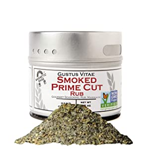 Gustus Vitae - Smoked Prime Cut Seasoning & Rub - Non GMO Verified - Magnetic Tin - Authentic Artisanal Gourmet Spice Blend - Crafted in Small Batches