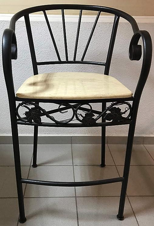 Silla Bar 1. Silla Alta de Hierro con Asiento de mármol beige46x47x102. para Interior o terraza. Decoración de forja.: Amazon.es: Jardín
