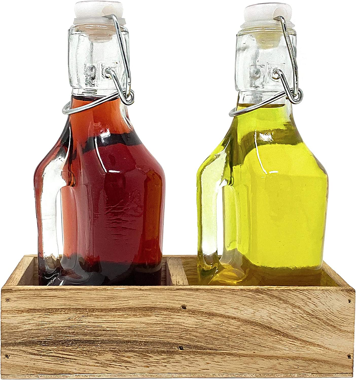 Oil and Vinegar Dispenser Set Cruet Bottles with Swing Top and Wood Caddy for Salad Dressing Condiments, Rustic and Farmhouse Kitchen Decor