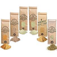 Smokey Olive Wood 6X 300mL Räuchermehl, Oliven- + Buche, Mandel-, Eichen-, Orangen-, Zitronen- und Walnussholz. Räucherspäne der Größe Nº1: 0-1mm