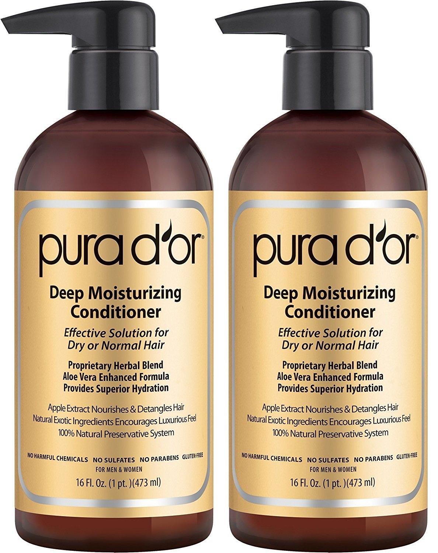 PURA DOR Deep Moisturizing Conditioner YfeVux Dry Hair Treatment Organic Argan Oil, 16 Fluid Ounce, 2 Pack