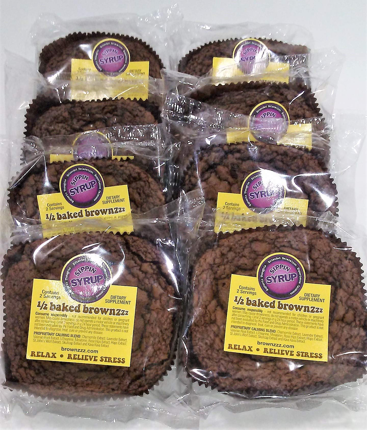 1/2 Baked Brownzzz - Relax and Relieve Stress - Qty. of 8 in Box - Dietary Supplement with Chamomile, Lavender, Valerian, St. John's Wort and More (8)