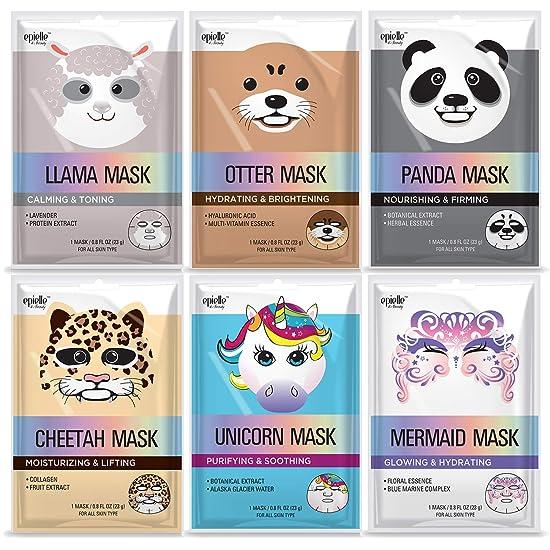 Panda  Assorted Character Facial Sheet Masks (6 pack)