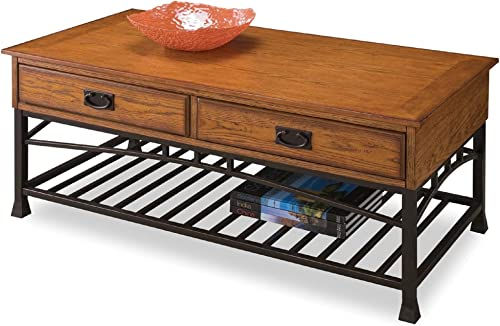 Home Styles Modern Craftsman Distressed Oak Coffee Table with Two Pull-through Drawers, Open Bottom Storage Shelf