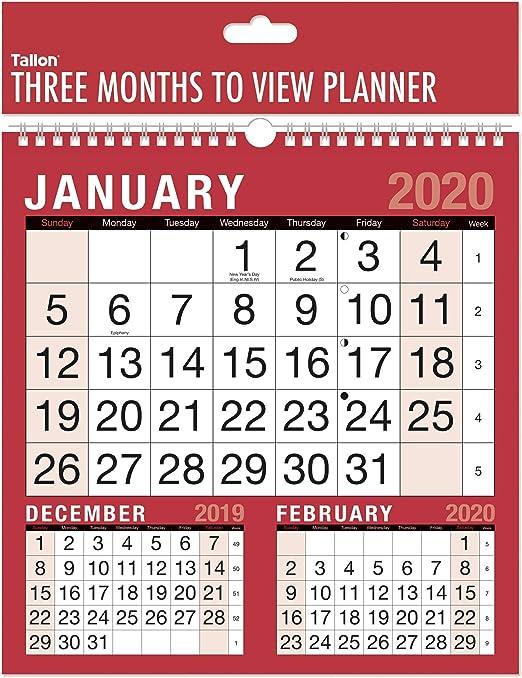 2019 Cuadrado de tres meses para ver el calendario de planificador ...