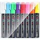 Kritmarkör – 8 lysande ljusa färger flytande kritfärger bläckpennor – 6 mm mejselspets – våt avtorkning – GAINWELL