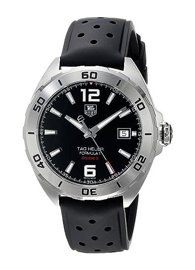 TAG Heuer Men s reloj automático con esfera analógica de color negro de goma WAZ2113