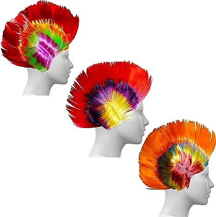 Kurtzy Pack de 3 Pelucas Multicolor Mohawk para Fiestas ...