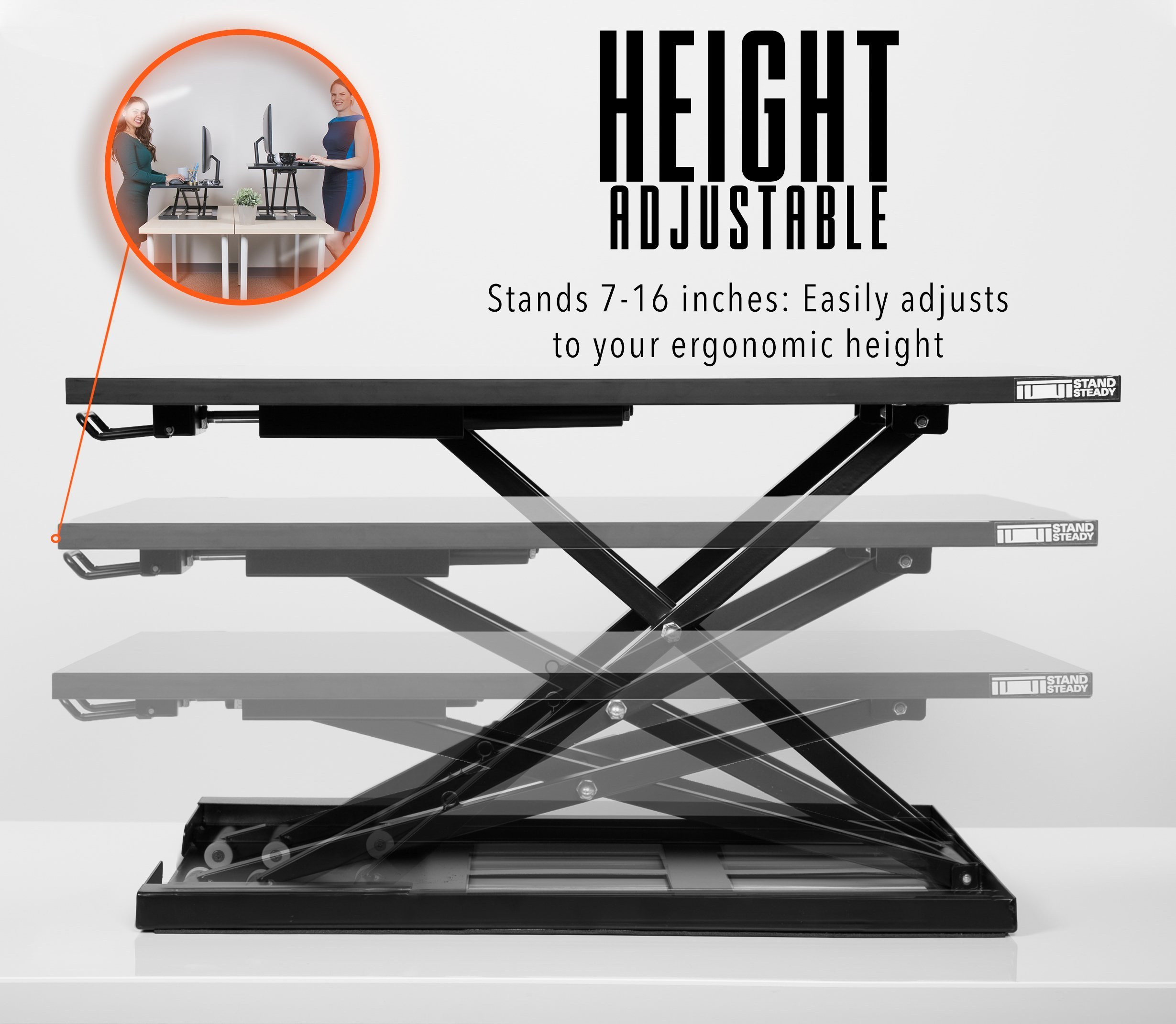 Standing Desk - X-Elite Pro Height Adjustable Desk Converter - Size 28in x 20in Instantly Convert any Desk to a Sit / Stand up Desk (Black) by Stand Steady (Image #7)
