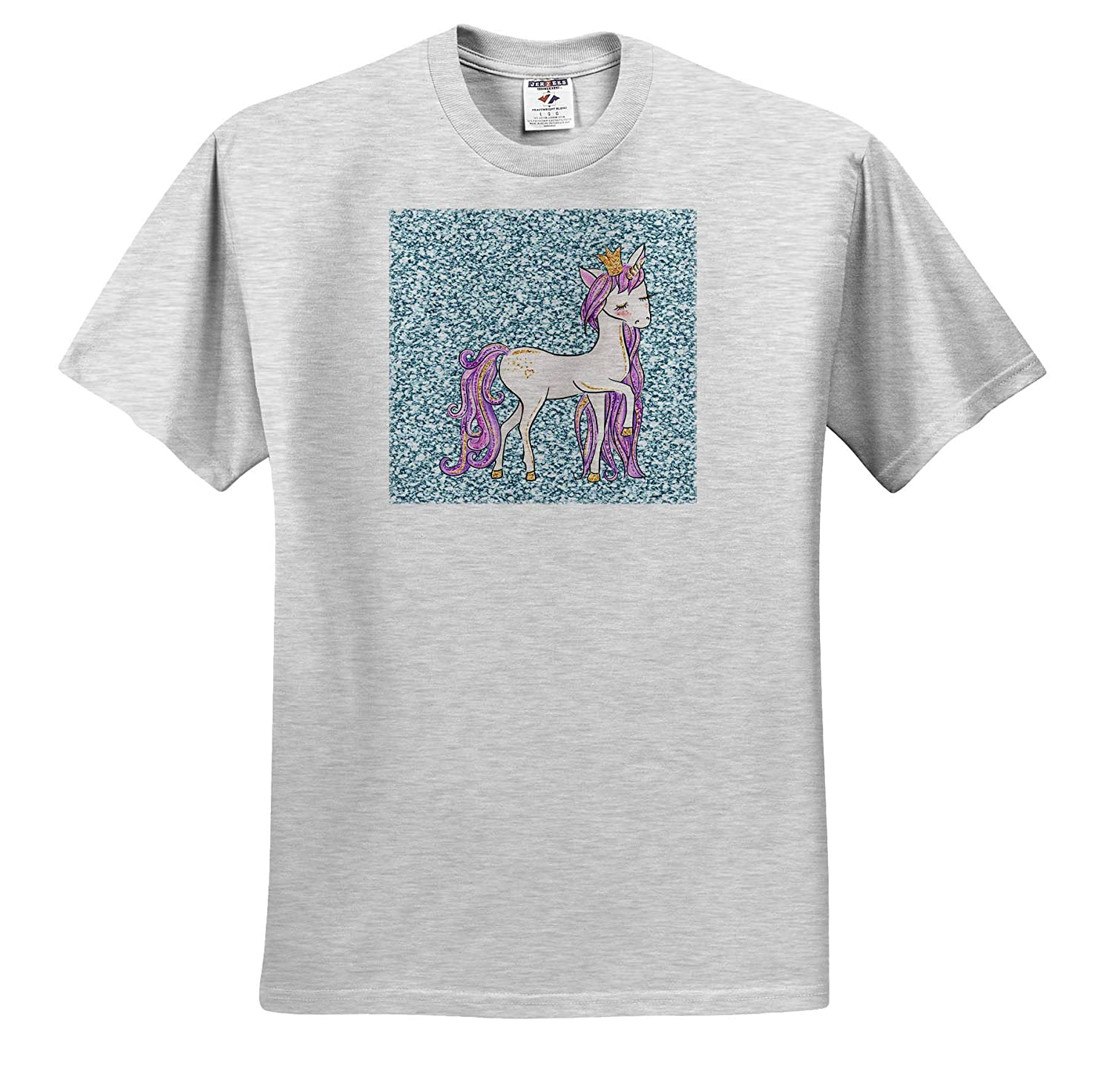 Unicorn Horse on Sparkly Print Background T-Shirts 3dRose Made in The Highlands Art- Unicorn Horse