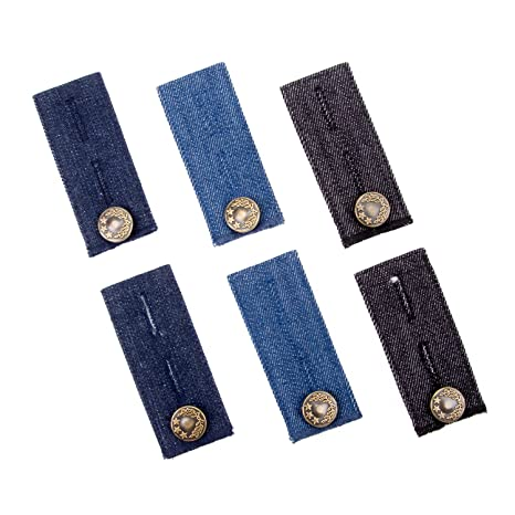 6-Pack Denim Waist Extenders for Jeans, Trousers and Skirt