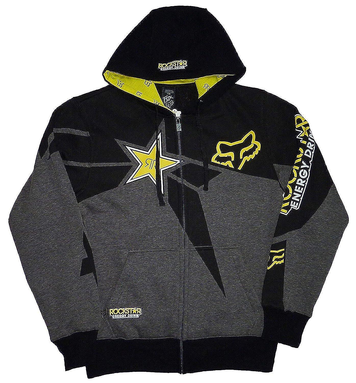 FOX Racing Rockstar Energy ロックスターエナジースポンサード ジップアップパーカー(チャコール)【並行輸入品】 B078N637YY S