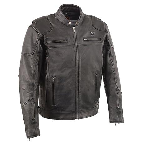 Hombres de piel de ventilación motocicleta Scooter chaqueta ...