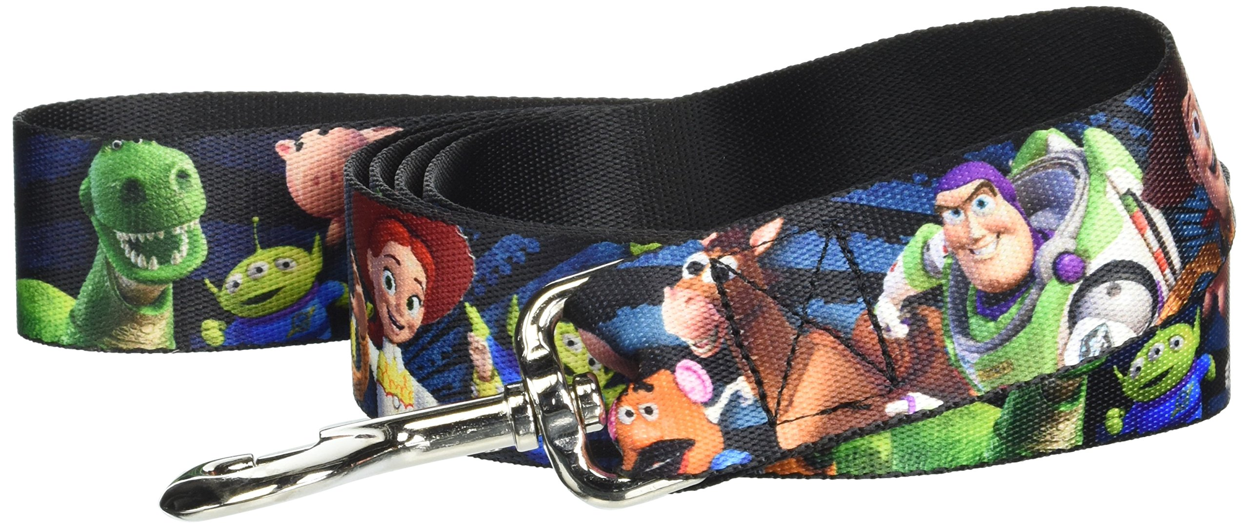 Buckle Down Pet Leash - Toy Story Characters Running Denim Rays - 6 Feet Long - 1.5'' Wide
