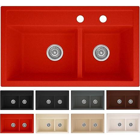 Lavello in granito Pireus 76, da cucina | a incasso, per armadietti da 80  cm | 2 vasche, senza piano scolapiatti | Rivestimento antibatterico | incl.  ...