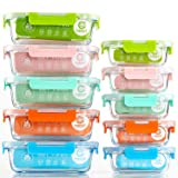 [10-Pack] Glass Food Storage Containers (A Set of Five Colors), Meal Prep Containers with Lids for Kitchen, Home Use - Airtight Glass Lunch Boxes (Color: Five Color)