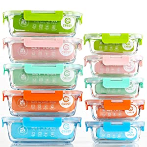 [10-Pack] Glass Food Storage Containers (A Set of Five Colors), Meal Prep Containers with Lids for Kitchen, Home Use - Airtight Glass Lunch Boxes