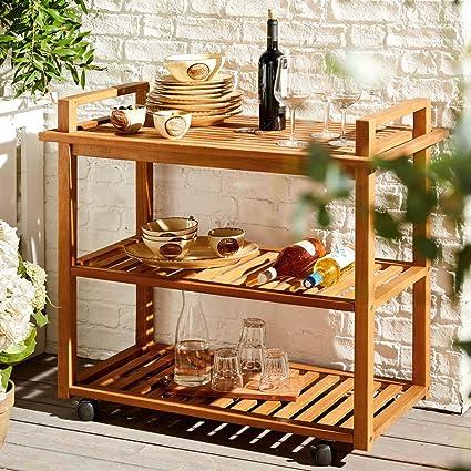 """Miavilla Servierwagen Beistellwagen /""""Pier/"""" Garten Outdoor Holz mit Tablett neu"""