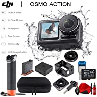 DJI Osmo Action Cam Digital Camera with 2 displays 11m Waterproof 4K HDR-Video 12MP 145? Angle Black (Floating Handle Kit)