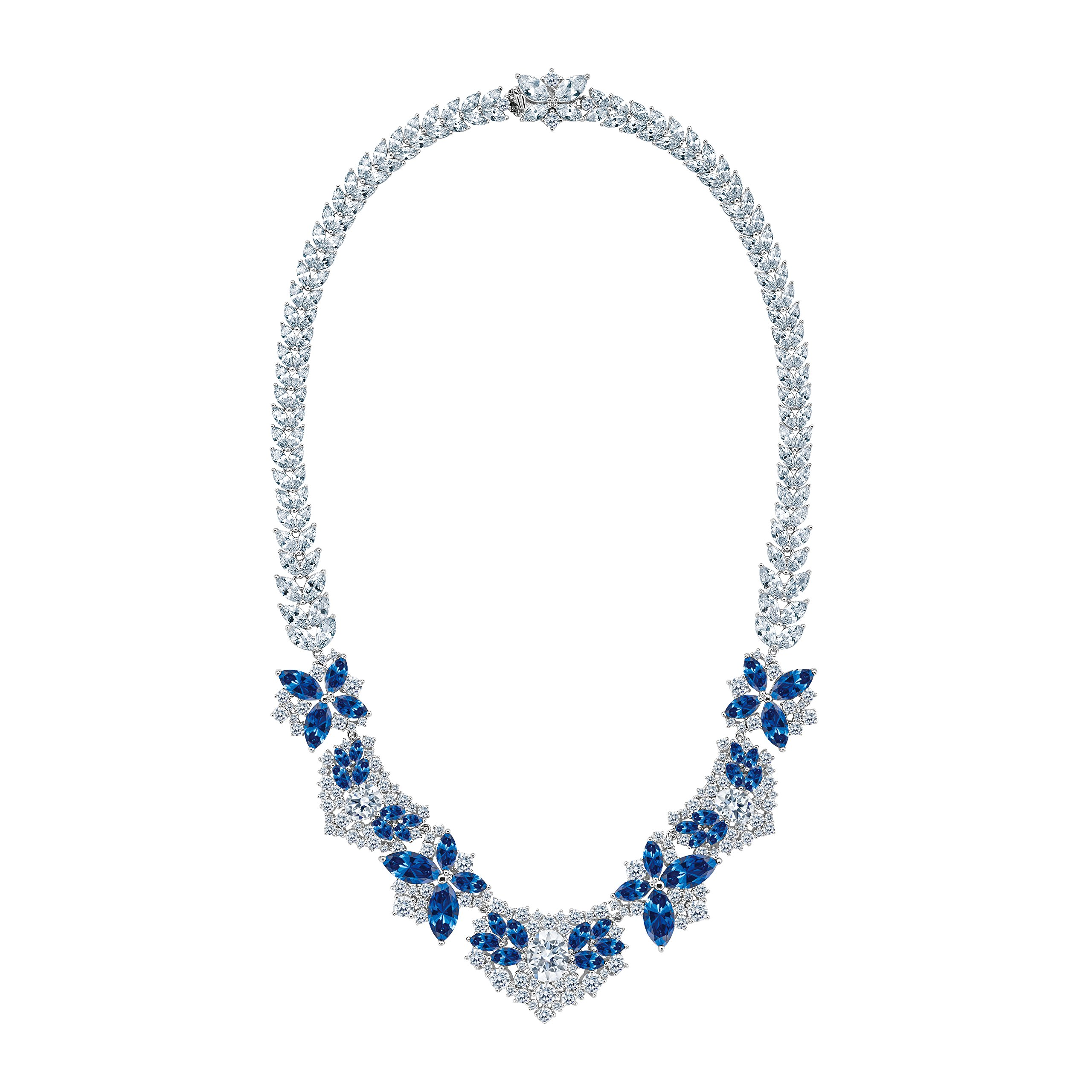 MIYUMIRO Women's Royal Bloom In Blue Necklace - Royal Blue Collection