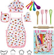 AFARELY Kids Cooking Baking Set - Children Dress Up Chef Role Play Costume Set 18 Pcs, with Apron Hat, Cooking Mitt, Utensils