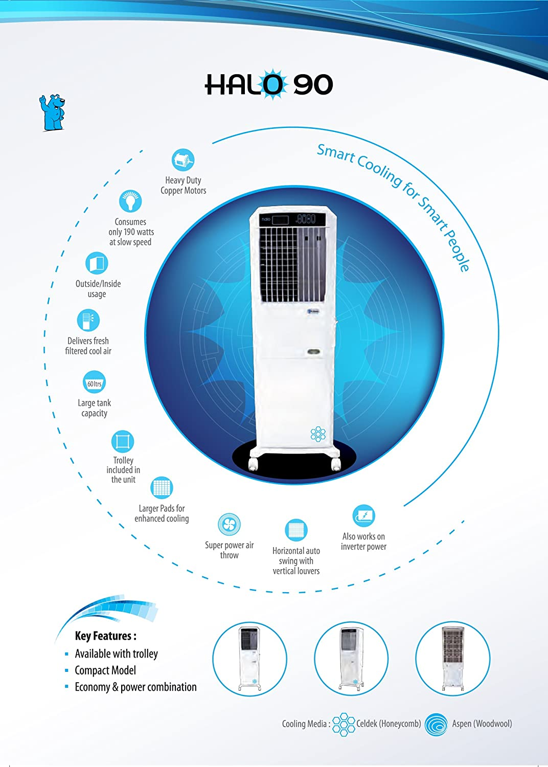 Mr. Breeze Halo90 60L Air Cooler (with Remote..