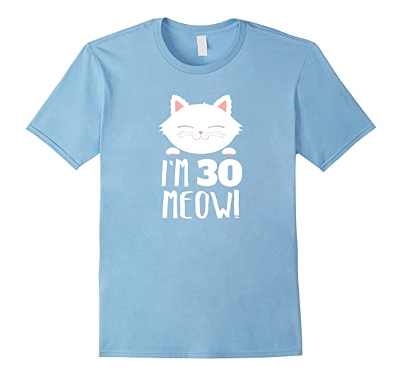 Mens Cat Birthday Gift Woman 30th Age Year Meow 2XL Baby Blue