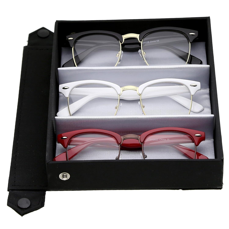 997f4759f0 zeroUV - Retro Square Clear Lens Horn Rimmed Half-Frame Eyeglasses 50mm  (3-Pack Deluxe