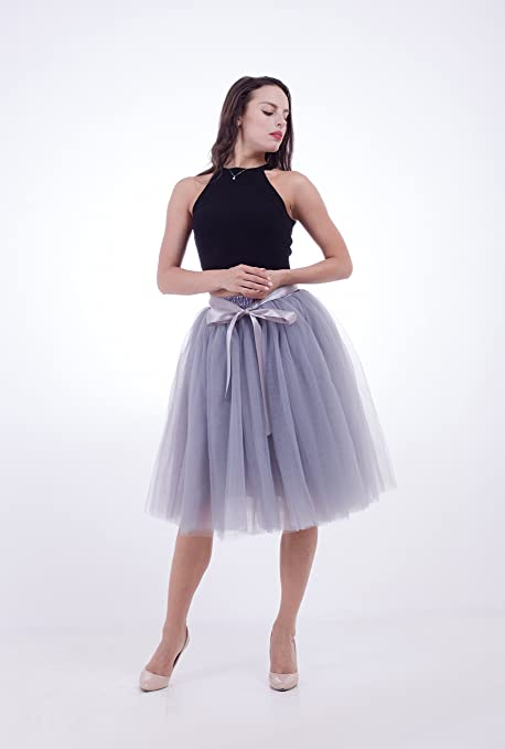 SCFL falda de tutú de las mujeres Midi Tulle faldas 7 capas de ...