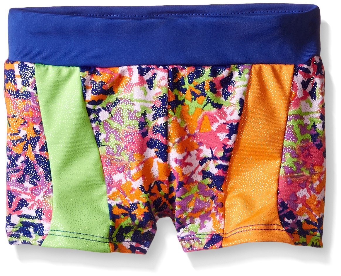 Jacques Moret Big Girls' Gymnastics Micro Short, Bright Spots, Medium