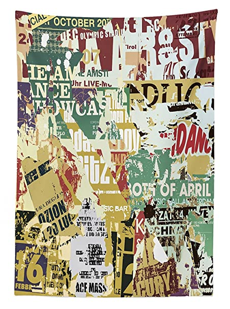 Retro Tablecloth Grunge Style Collage Print of Old Torn Posters