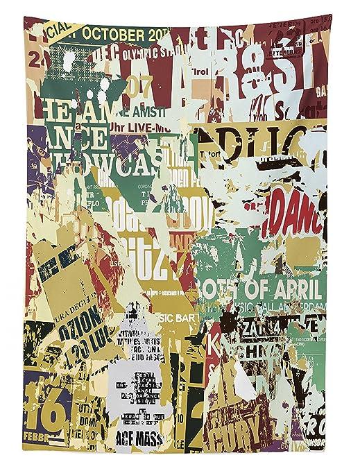 Retro tovaglia Grunge Style collage stampa dei vecchi poster Torn ...