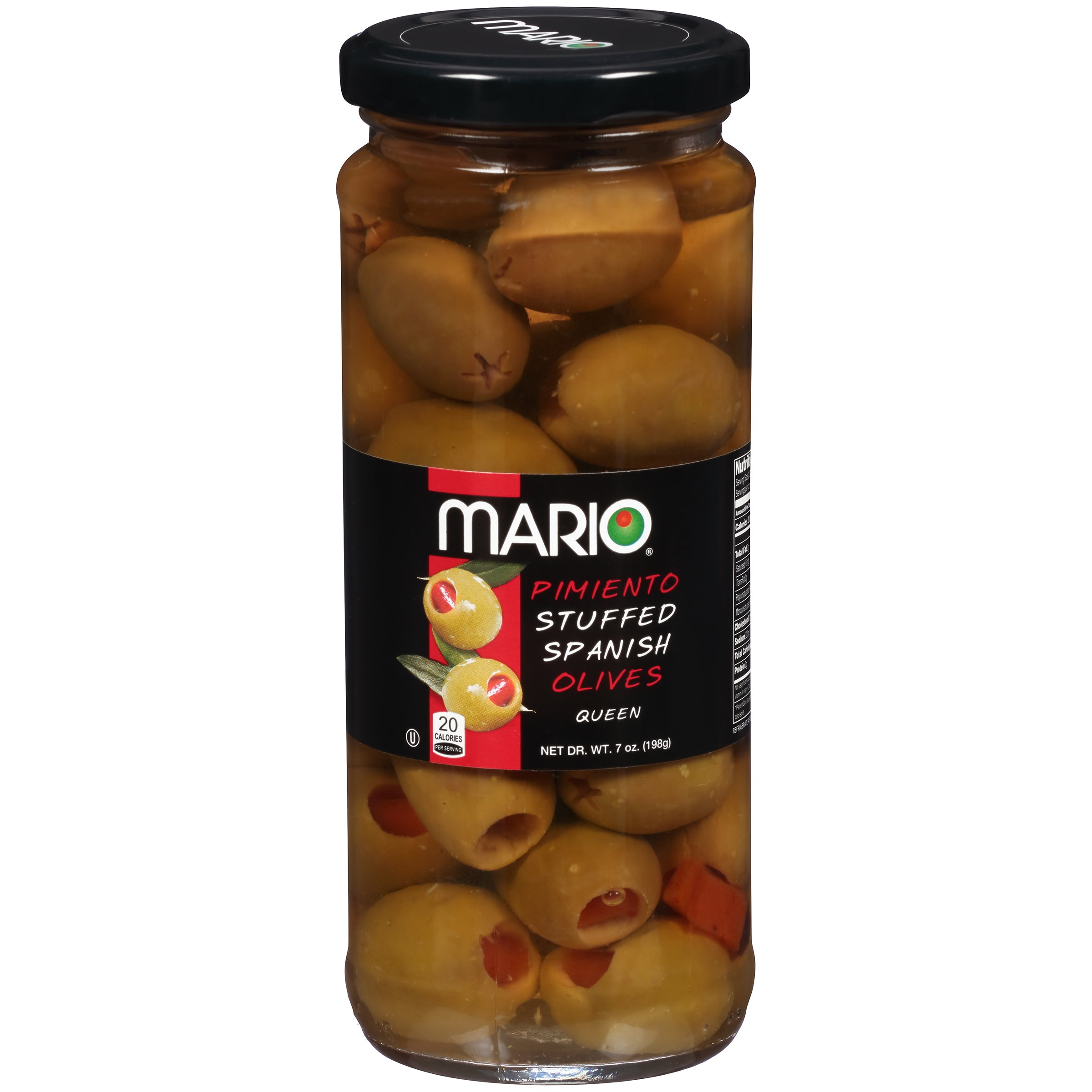 Mario Camacho Foods Queen Olives Stuffed with Minced Pimiento, 7 Ounce