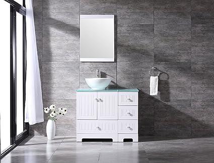 BATHJOY 36u0026quot; White Bathroom Vanity Cabinet Ceramic Vessel Sink Top  Faucet Drain Combo With Mirror